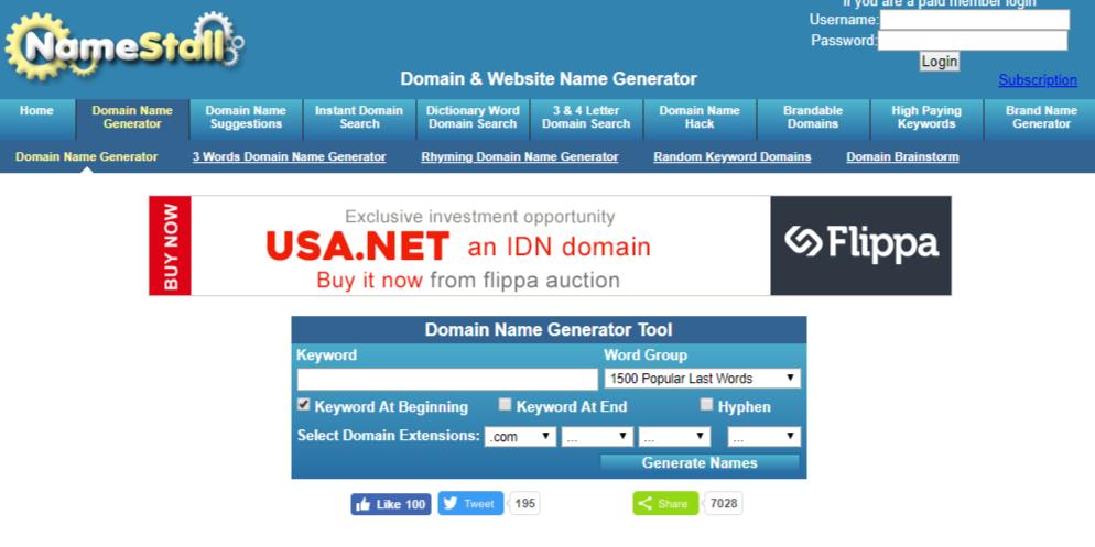 Funny website names generator